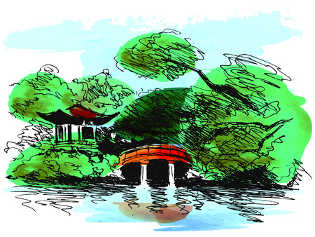 Colored hand sketch Japanese garden