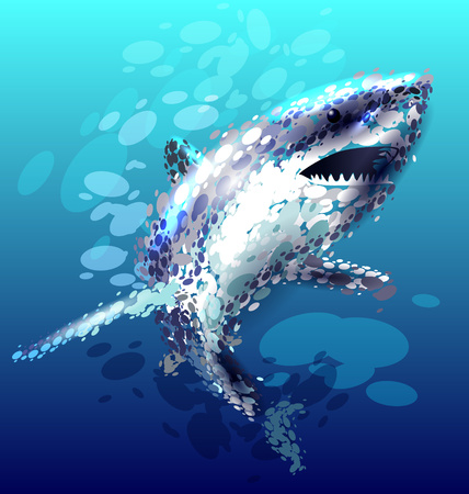 Vector illustratie van een haai Stock Illustratie