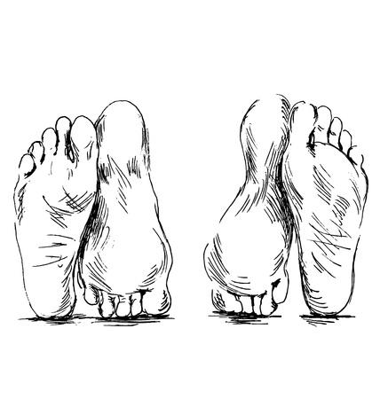 man and woman sex: Рука эскиз пары ног Иллюстрация