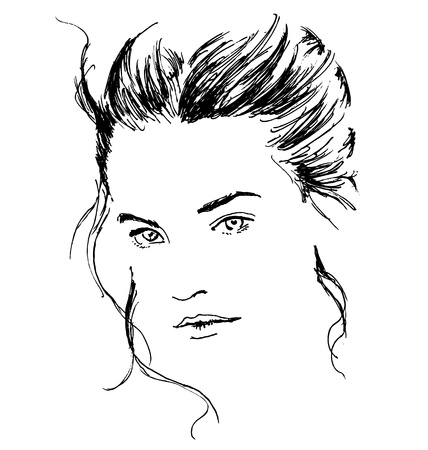 Hand sketch beautiful woman's face 向量圖像