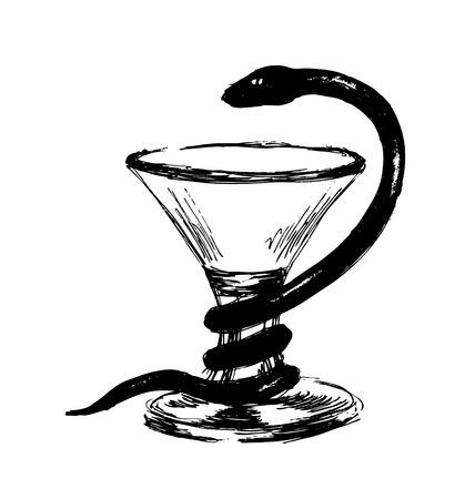 aesculapius: Hand sketch pharmaceutical symbol Illustration