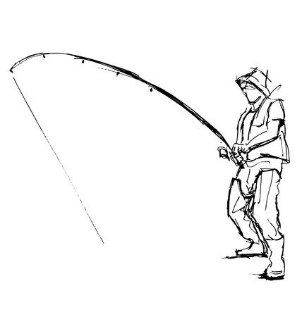 fishingline: Hand pen sketch fishermen