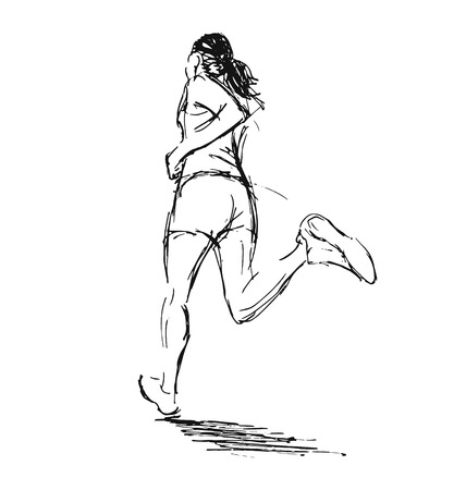 sketch: Hand sketch of a running woman