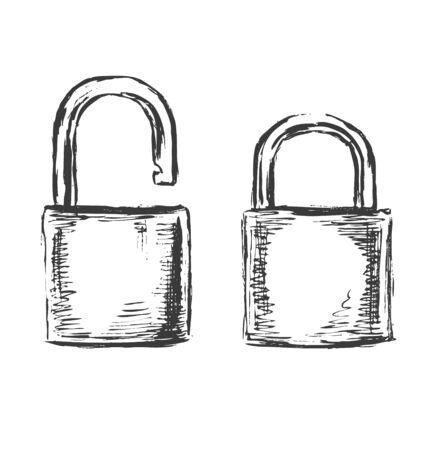 safest: Hand sketch padlocks