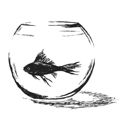 outsider: Hand sketch aquarium with fish