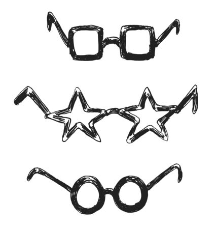 funny glasses: Hand sketch funny glasses