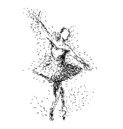 stage costume: Hand drawing illustration of ballerinas