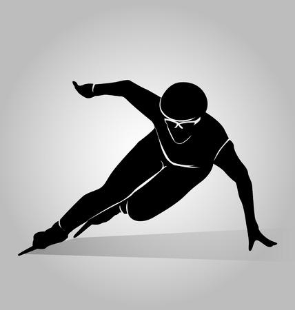 skaters: Vector silhouette speed skaters Illustration