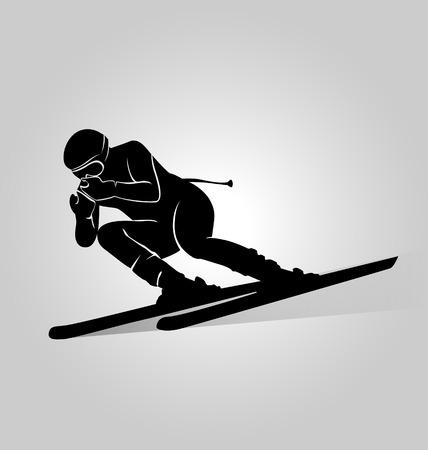 skiers: Vector silhouette skiers