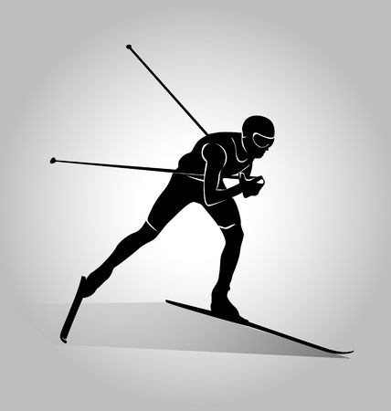Vector silhouette of cross-country skiing Stock Illustratie