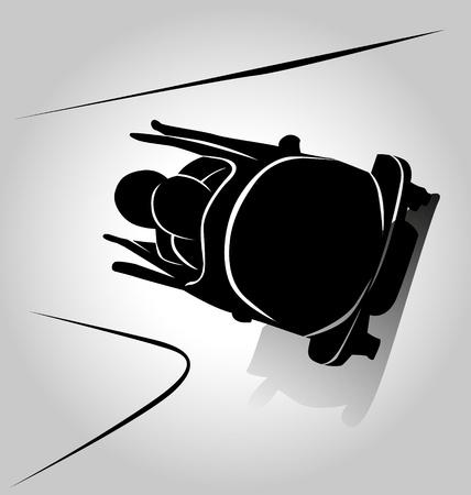bobsleigh: Vector silhouette bobsleigh