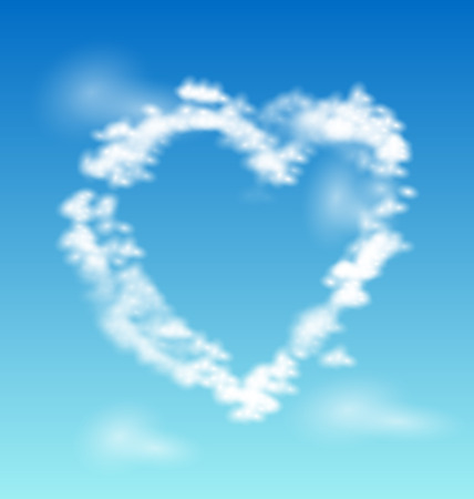 cloud shape: Vector illustration heart from clouds Illustration