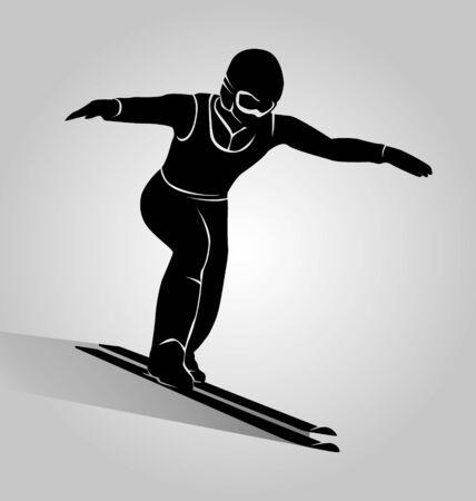 jumper: Vector silhouette ski jumper