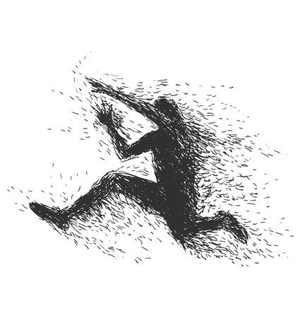 potency: Handmade illustration jumping man