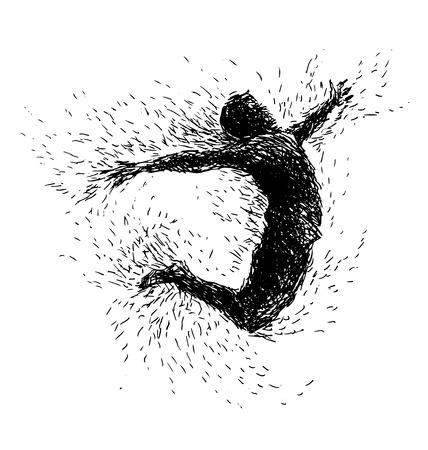 man jumping: Hand drawing jumping man