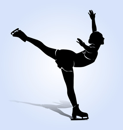 silhouette figure skaters Иллюстрация