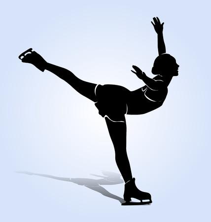skaters: silhouette figure skaters Illustration