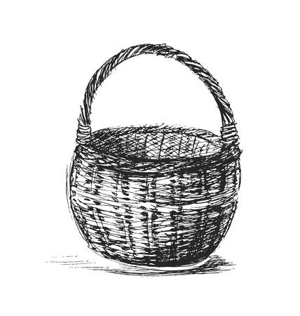 wicker: Hand sketch wicker basket Illustration