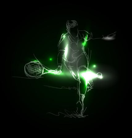 Vector illustration of a tennis player Vettoriali