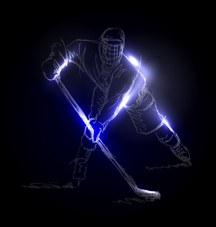 Vector illustration of a hockey player Vettoriali