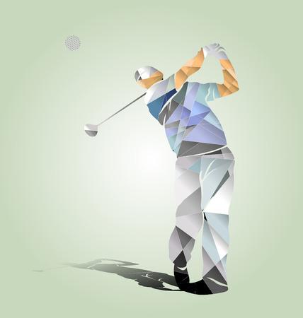 poligonos: ilustración vectorial de polígonos de un jugador de golf