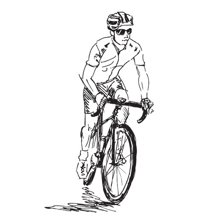 Hand sketch cyclist Stock Illustratie