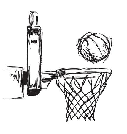 手スケッチ バスケット ボールのフープとボール