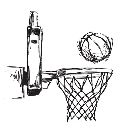 Hand sketch basketball hoop and ball Ilustrace