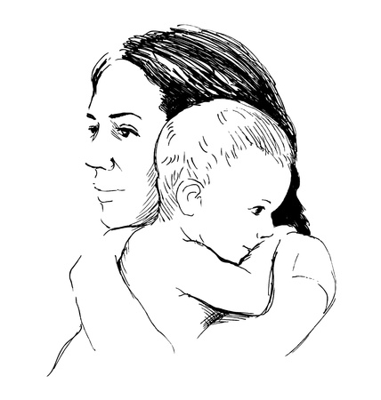 sketch mother with baby Illustration