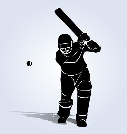 silhouette joueur de cricket Vecteurs