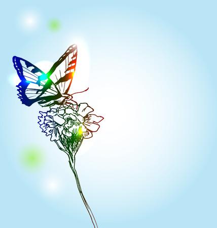 stamen: illustration butterfly and flower Illustration