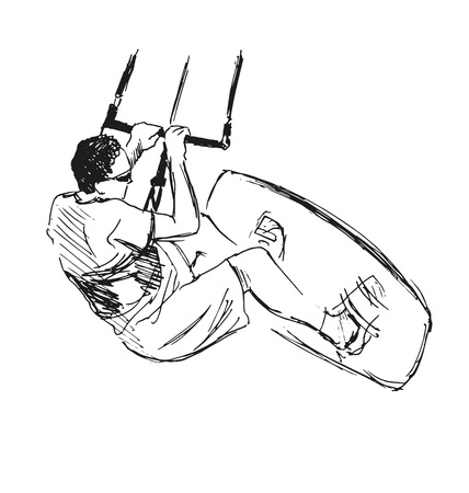 schets Vlieger Surfer Stock Illustratie