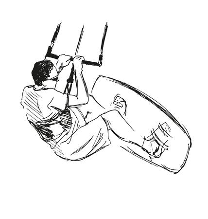 sketch Kite Surfer Vektorové ilustrace