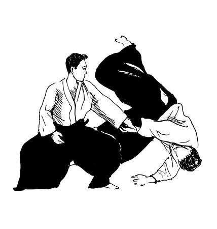 sketch fighters aikido Stock fotó - 54496960