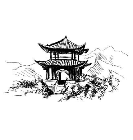 Hand sketch Chinese landscape Иллюстрация