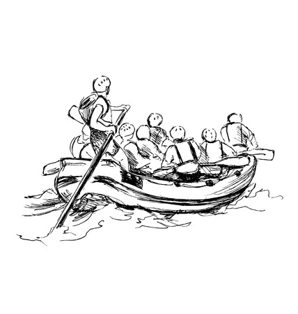 raft: Hand sketch of people on a raft