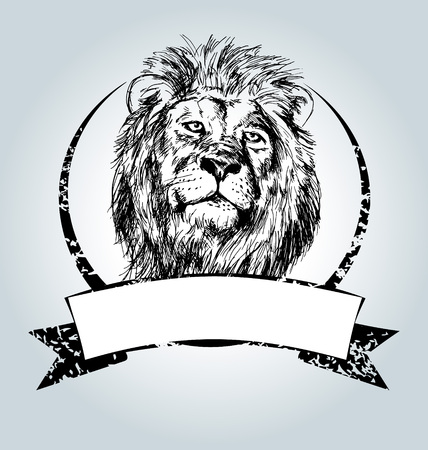 Vector vintage label with lion head Illustration