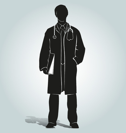 Vector silhouette of doctor