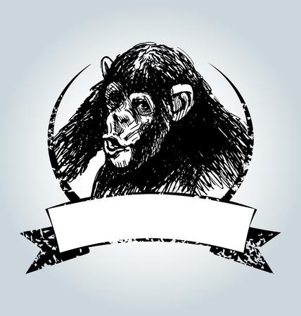 침팬지와 벡터 빈티지 레이블 일러스트