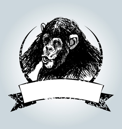 Vector vintage label with chimpanzee Stock Illustratie