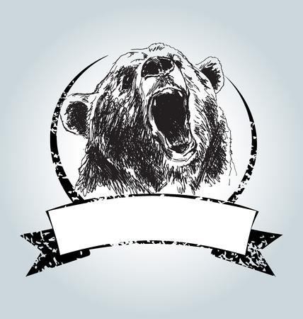 Vector vintage label with head bear