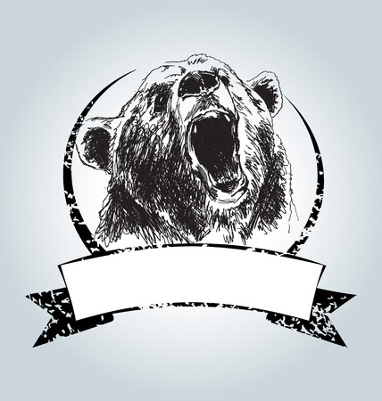 Vector vintage label with head bear