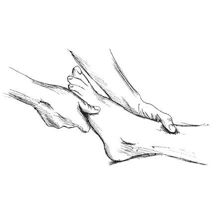 masseur: Hand sketch massage feet Illustration