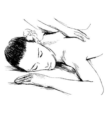 luxury hotel room: Hand sketch massage