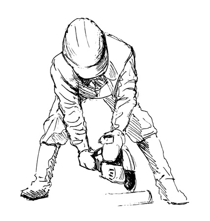 stone cutter: Hand sketch construction worker Illustration
