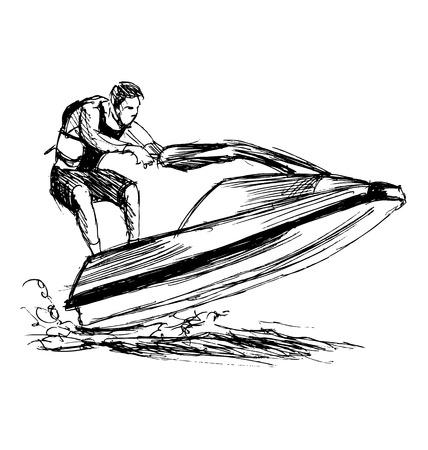 moto acuatica: jinete boceto a mano en un jet ski Vectores