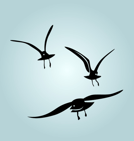 thrill: Vector silhouettes of birds