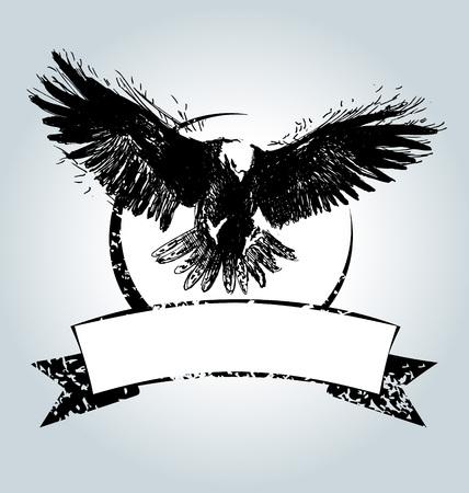 Vector uitstekend etiket met vliegende adelaar Stock Illustratie