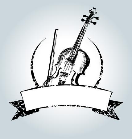 fiddles: Vector vintage label with violin