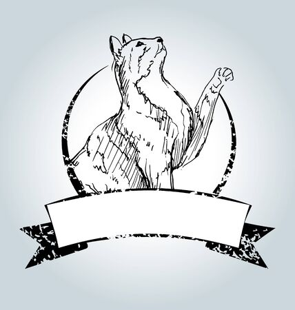brood: Vector vintage label with drawing cat Illustration